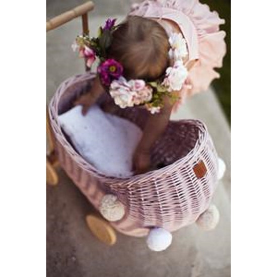Lilu | Wicker Doll's Pram | Dusty Pink | PRE-ORDER