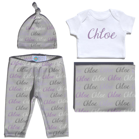 Welcome Baby Set - Name Only - Color Combo with Grey Background