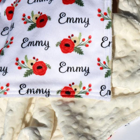 Double Minky Blanket - Winter Poppy