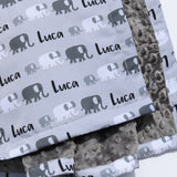 Minky Blanket - Monochrome Elephants