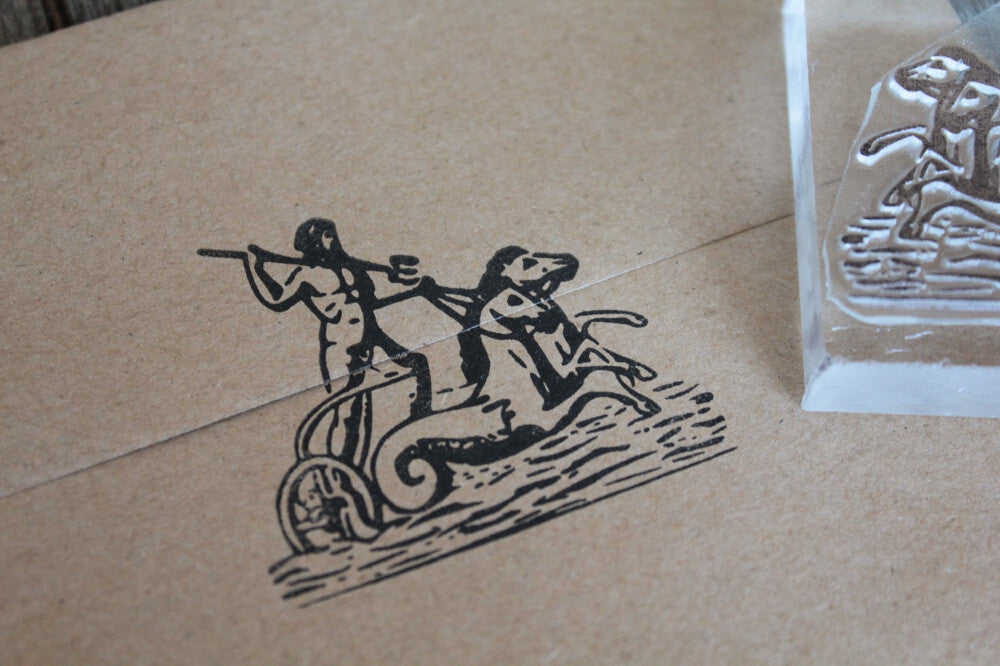 "Neptune, Poseidon, or Triton Riding on the Waves -  2"" x 2"" Stamp"