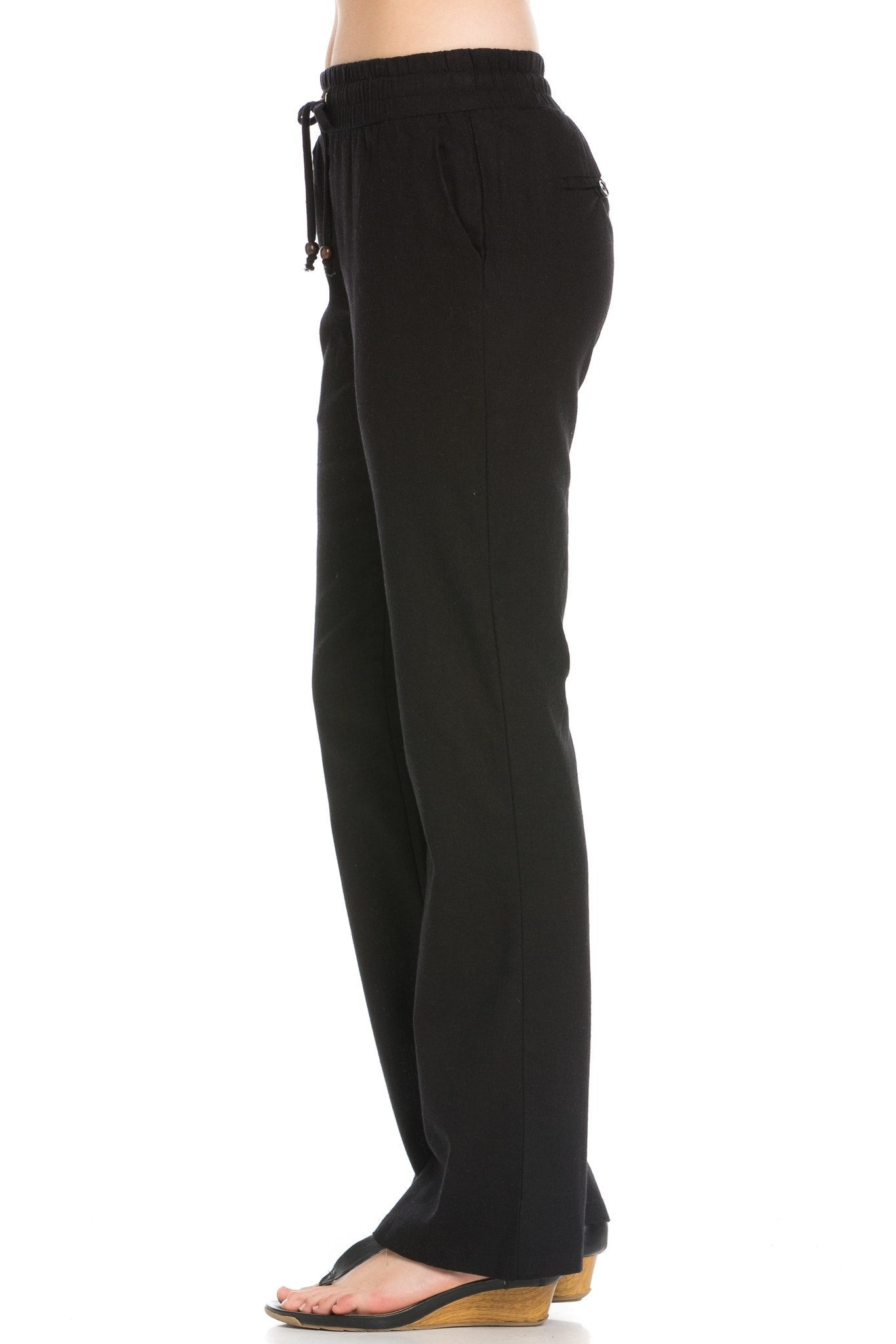 Comfy Drawstring Linen Pants Long with Band Waist (Black) - Poplooks