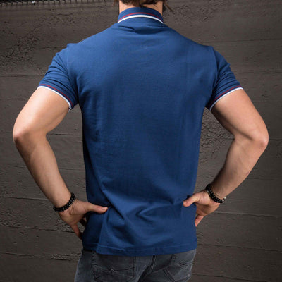 K&B Men Zip Up Faux Leather Top Polo T-shirt - Blue - FASH STOP