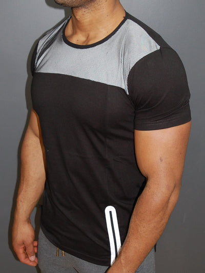 N&R Men Top Mesh Side Zipper T-shirt - Black