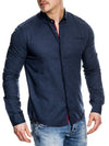 K&D Men Casual Button Up L/S Shirt - Navy Blue - FASH STOP