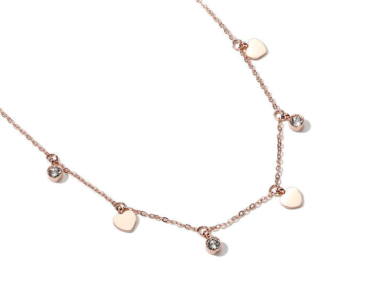 #N0009 Sweet Heart and Pendant Rose Gold Necklace