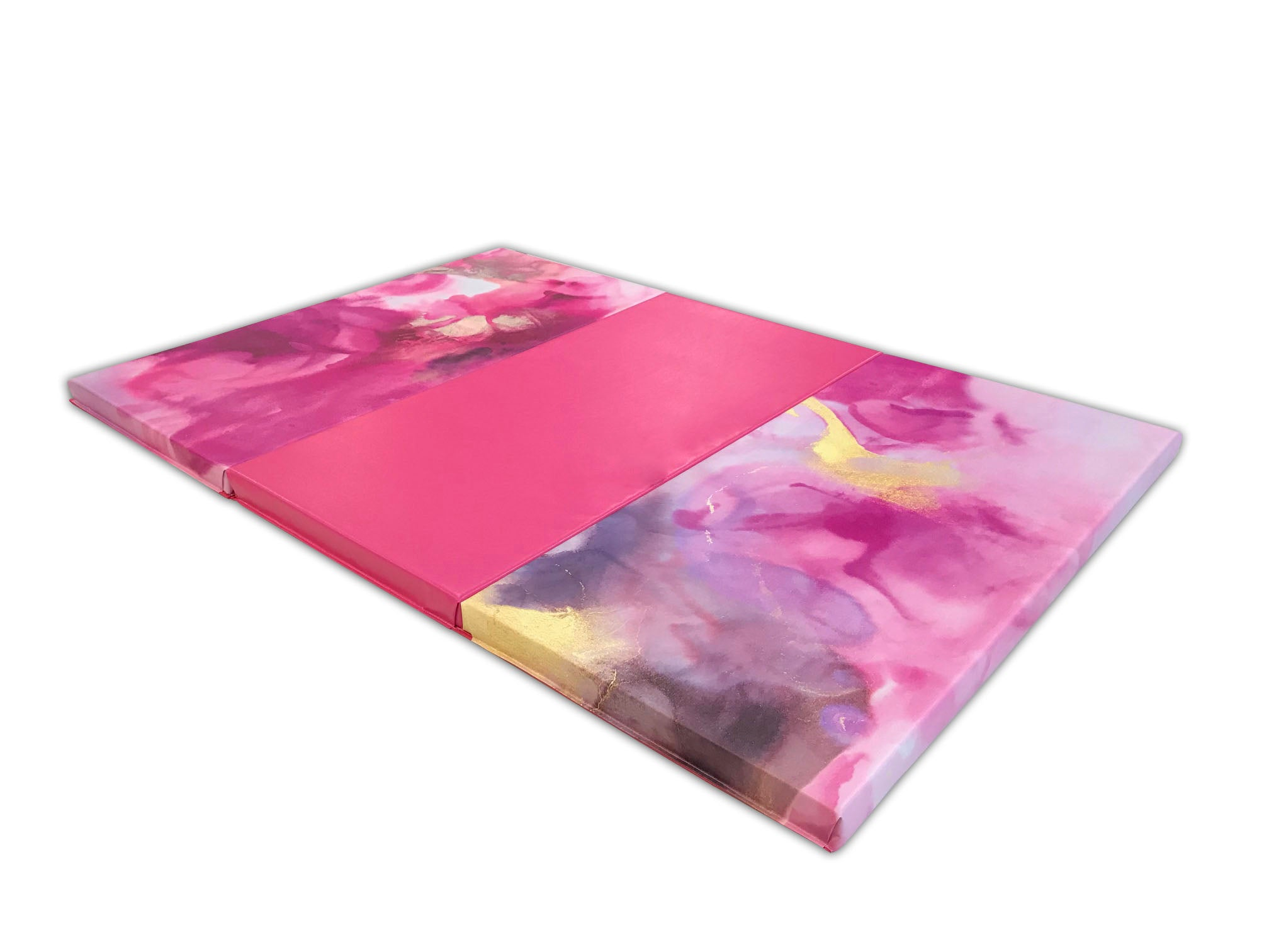 "Pink Watercolor 4' x 6' x 2"" Intermediate Level Folding Gymnastics Mat"