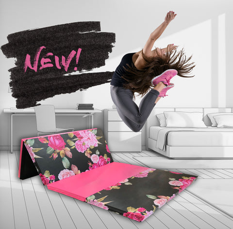 pink and black folding gymnastics mat
