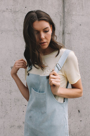 Corduroy pinafore dress dusty blue overalls | PIPE AND ROW Seattle