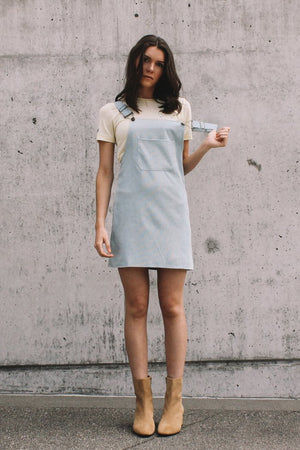 Corduroy pinafore dress dusty blue | PIPE AND ROW