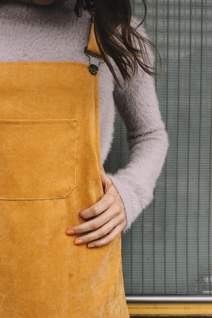 Corduroy pinafore dress mustard khaki tan overalls| PIPE AND ROW