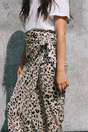 Jaspre shiny wrap midi skirt beige tan light leopard print PIPE AND ROW