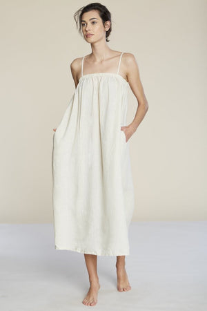 Filosofia midi Leah linen tent dress vanilla cream oversized summer | pipe and row