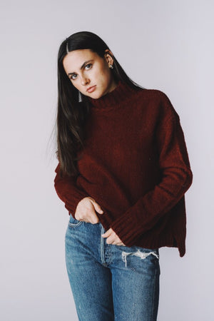 Pipe and Row staples Marie Step Hem sweater in burgundy pipe and row
