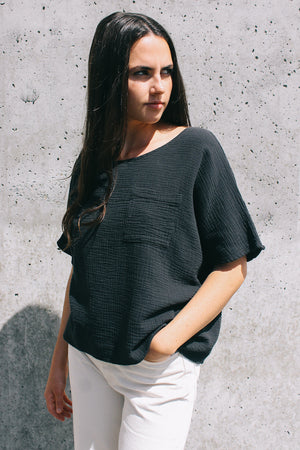 Filosofia Paige short sleeve breathable cotton gauze top black tarmac | Pipe and Row