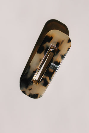 Resin hair clip modern grey tort barrette in rectangle shape with cut out | PIPE AND ROW