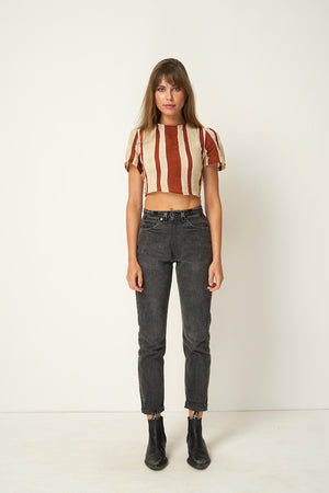 Rue Stiic Crest cropped tie top in presley stripe | Pipe and Row