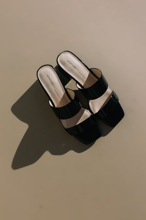 Intentionally Blank shoes black glossy patent leather Scamp two band, mule, slip on sandal heel | pipe and row