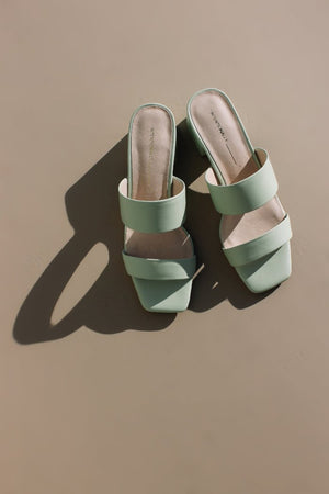 Intentionally Blank Scamp shoes mint green leather two band, mule, slip on sandal heel | pipe and row