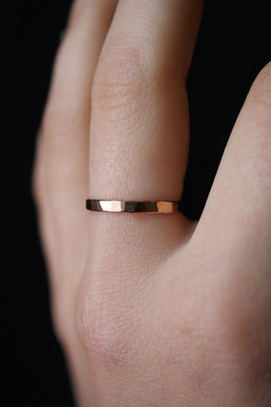 Extra thick hammered stacking ring rose gold jewelry  | pipe and row