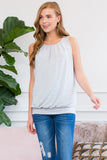 Pleated Sleeveless Top with Waistband S-XL