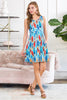Sleeveless Feather Print Empire Waist Tank Dress