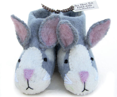 SEW HEART FELT Rory the Rabbit Children's Handmade Grey Felt Animal Slippers