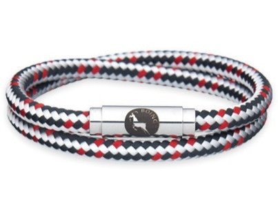 BOING Sailing & Climbing Rope Wristband Bracelet: Skinny Double Wrap BLACK RUN - Black, Red, White