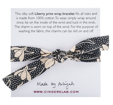 CINDERELA B Liberty of London Print fabric Wrap Bracelet & Bee Charm