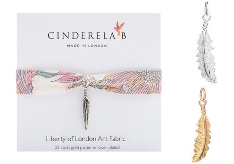 CINDERELA B Liberty of London Fabric Print Wrap Bracelet & Feather Charm