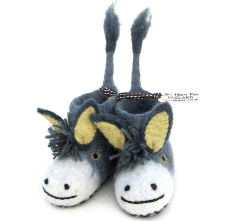 SEW HEART FELT Darci the Donkey Baby's Handmade Felt Animal Slippers