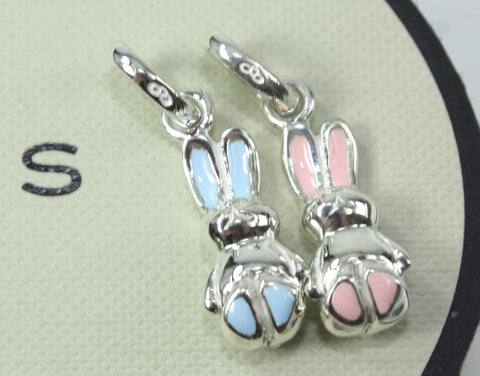 Links of London Sterling Silver Blue or Pink Bunny Rabbit Charm
