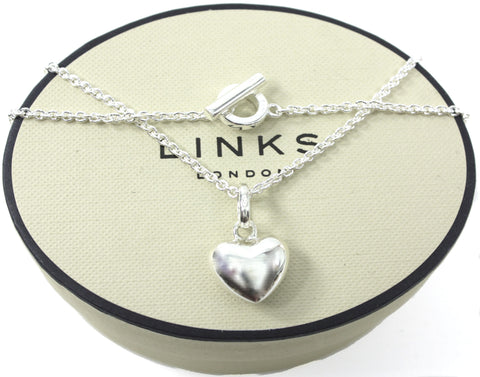 Links of London Sterling Silver Love Heart Pendant Sweetie Charm on T Bar Necklace
