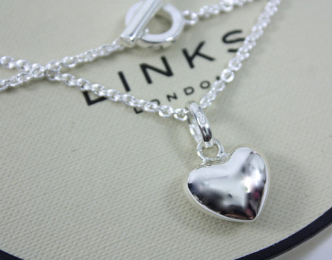 LINKS OF LONDON Sterling Silver Puffed Heart Pendant Sweetie Charm & T Bar Necklace