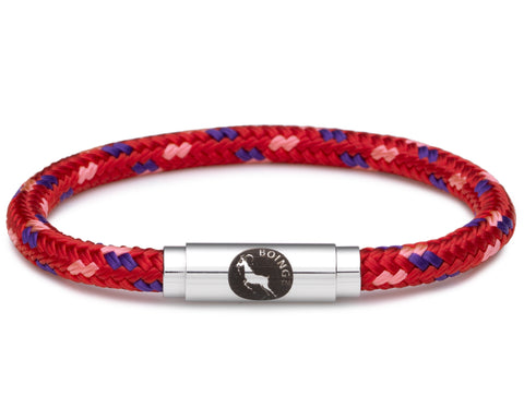 BOING Sailing Rope Wristband Bracelet: Skinny ROYAL RED - Red, Purple, Pink