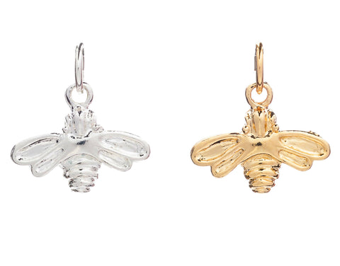 CINDERELA B Bee Charm: in choice of 22ct Gold Plate or Silver Plate