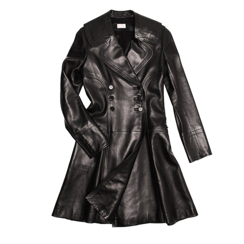 Find an authentic preowned Azzedine Alaia Black Leather Trench Coat size 42 (French) at BunnyJack, where a portion of every sale goes to charity.