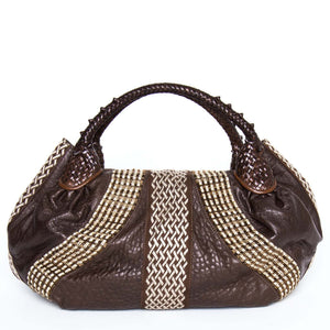 Brown Leather & Beads Large Bag