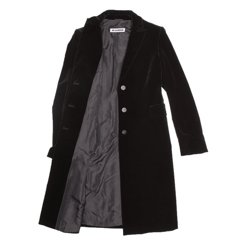 Find an authentic preowned Jil Sander Black Cotton Velvet Coat, size 40 (French) at BunnyJack, where a portion of every sale goes to charity.