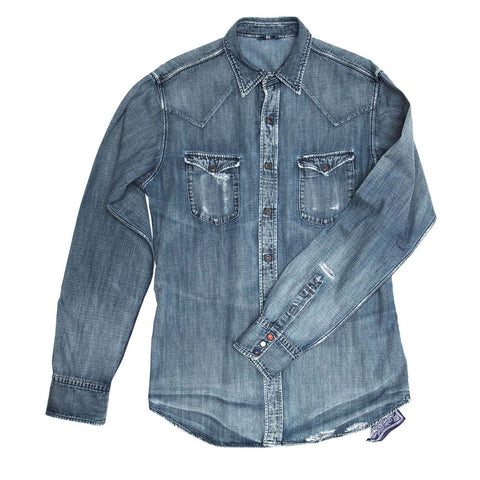 Find an authentic preowned 45 RPM Blue Denim Shirt For Man, size 7 at BunnyJack.