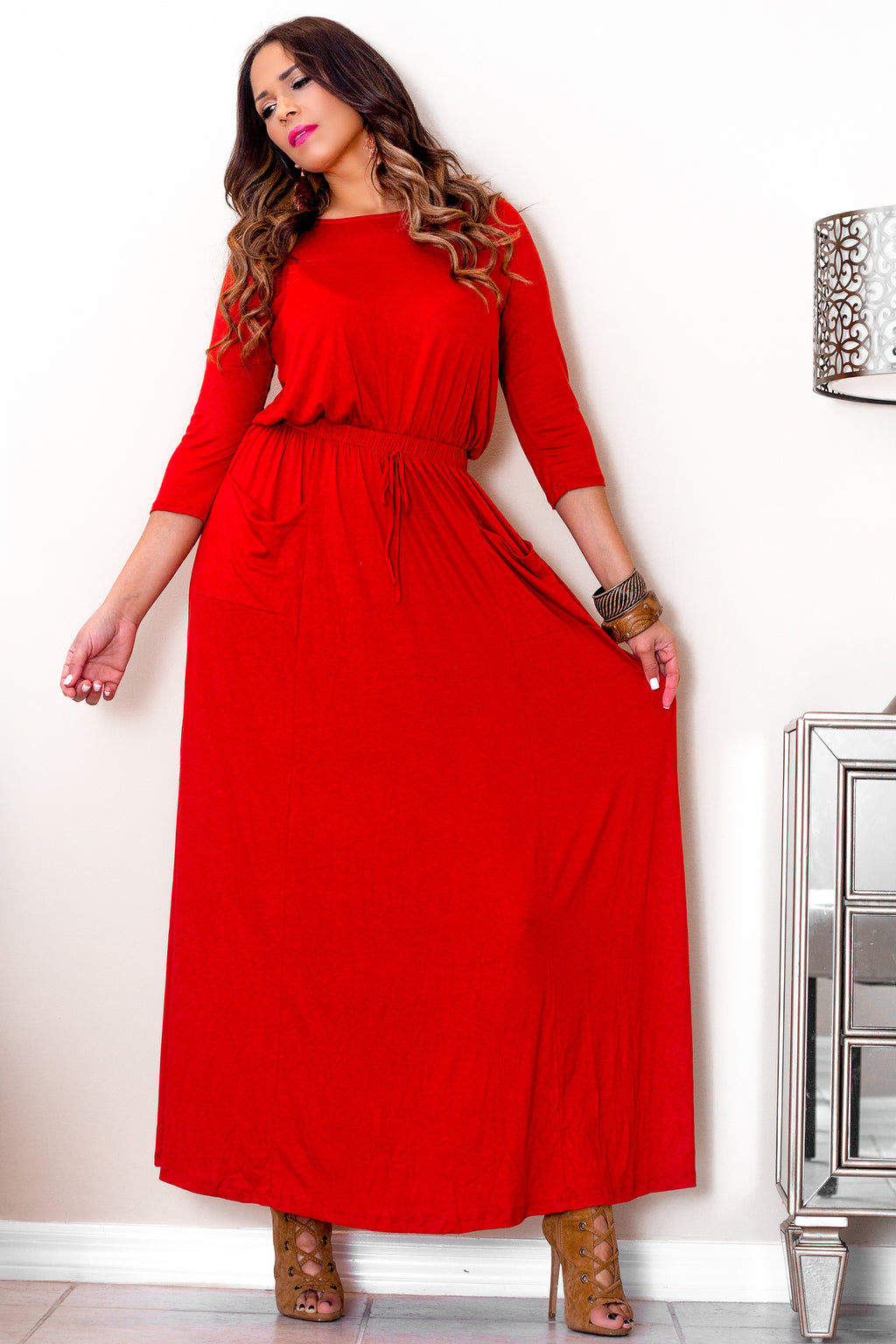 Dalinda Casual Rust Quarter Sleeves Maxi Dress - MY SEXY STYLES