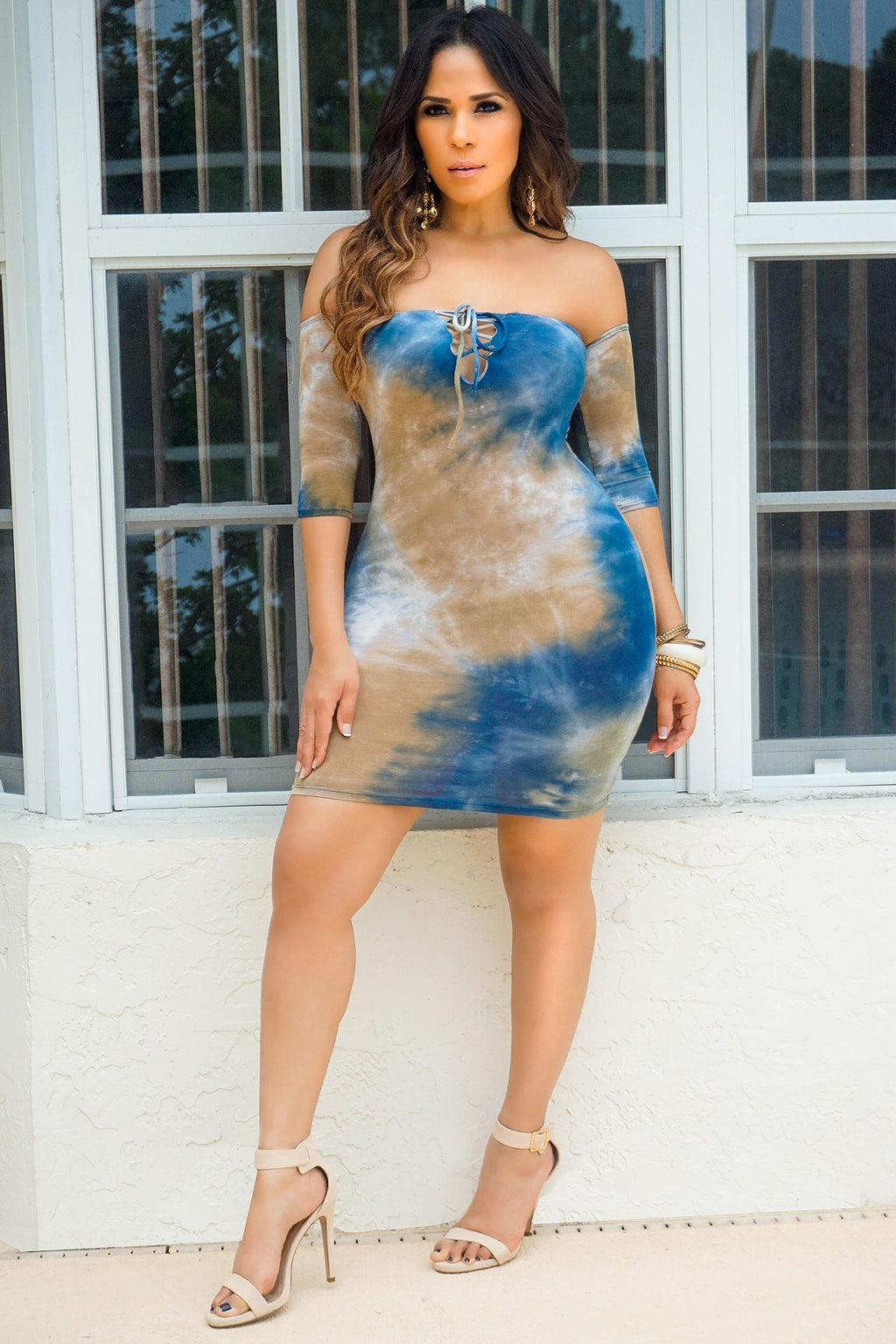 Harley Navy Mocha Off Shoulder Tie Dye Bodycon Mini Dress