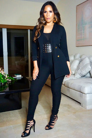 Kim Kardashian Inspired Black Ruched Bodycon Jumpsuit