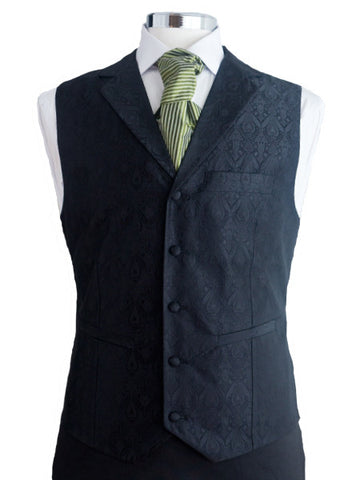 Waistcoat with lapel - Black silkbrocade - By Eneroth