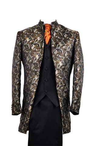"Jacket ""Nehru"" in black silkbrocade - By Eneroth"