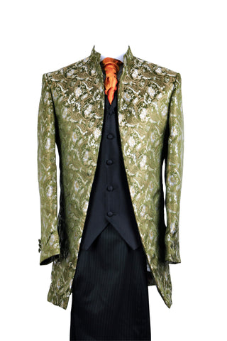 "Jacket ""Nehru"" in green silkbrocade - By Eneroth"