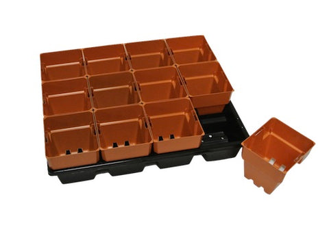 100mm Squat Punnet Pots with Tray-Clay Coloured Pot