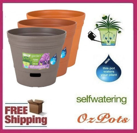 250mm Self Watering Plastic Garden Pots x 6pcs
