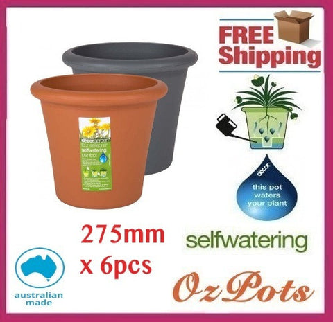 275mm Self Watering Plant Pots x 6pcs