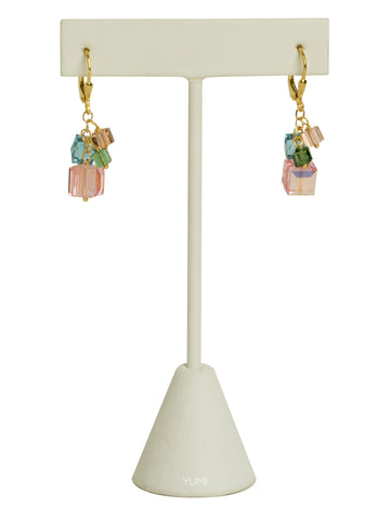 Pastel Spring Crystal Cube Earrings